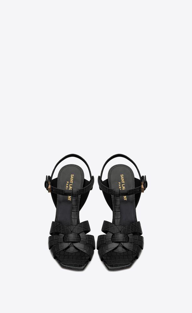 TRIBUTE鳄鱼纹压印亮面皮革凉鞋