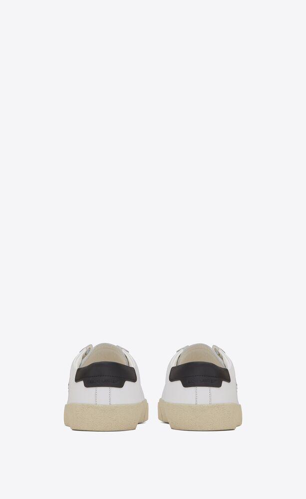 court sl/06光白色真皮和金色刺绣运动鞋