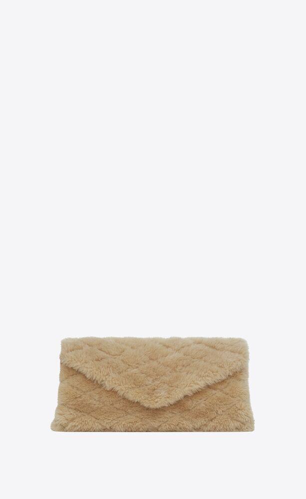 SADE小羊皮和美利奴剪羊毛膨胀式信封手拿包