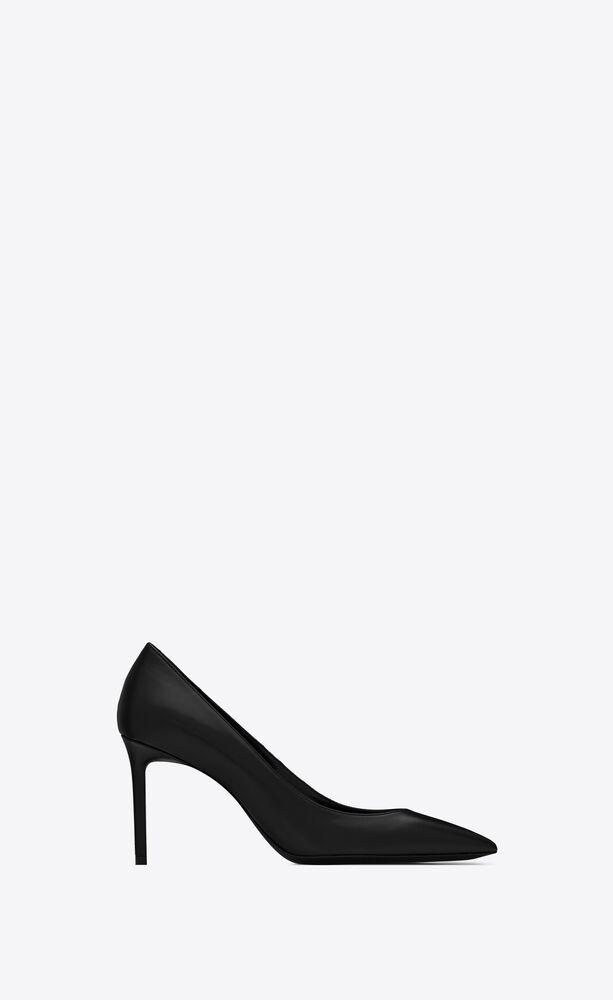 anja 85黑色真皮高跟鞋