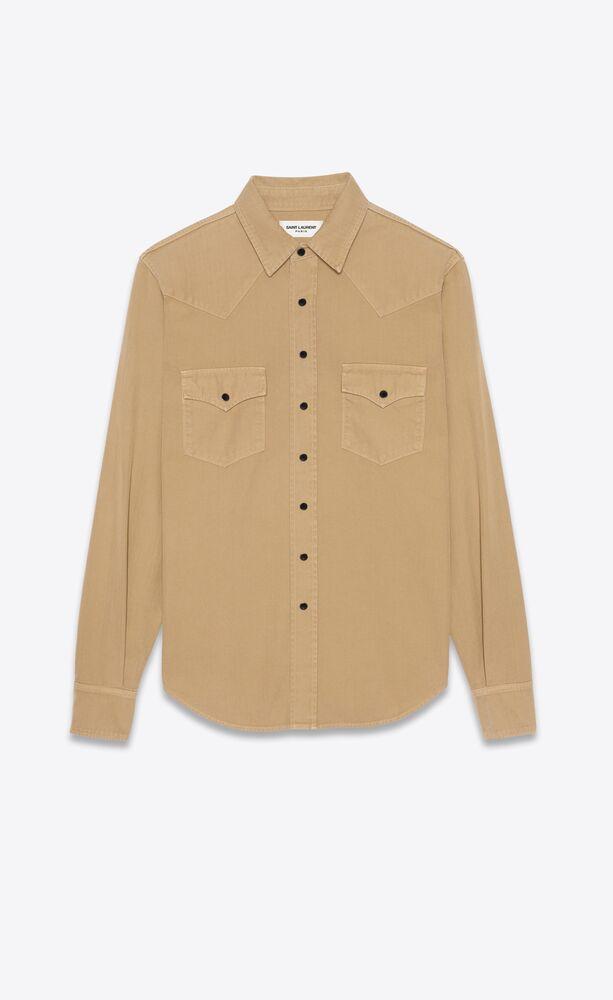 西部风格米色石洗牛仔衬衫