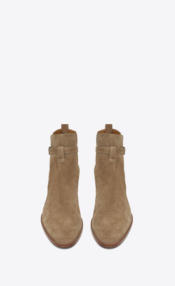 WYATT 30 浅褐色绒面材质短马靴